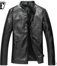 2016 men's clothing leather jacket Cultivate one's morality short collar locomotive thin leather pu the  period and the leisure (China (Mainland))