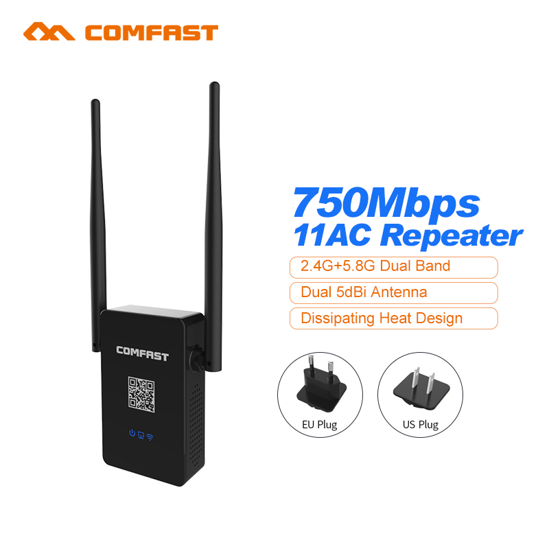 COMFAST Wireless WIFI Repeater 750Mbps Routers Dual Band 2.4G+5GHZ 802.11AC WIFI Repeaters Wi fi Roteador Extend Wifi Amplifier(China (Mainland))