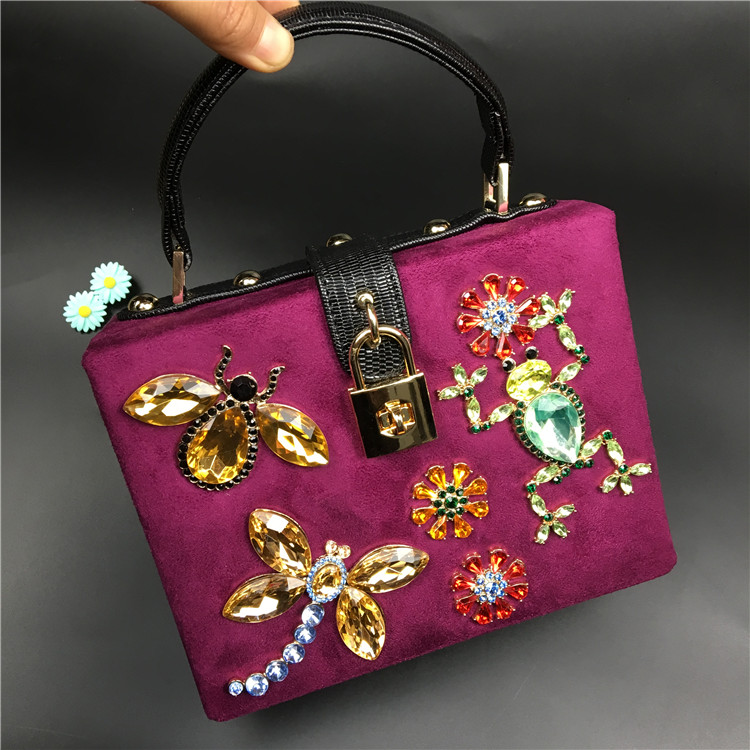 2016 Luxury Fashion Italian Court Style Insect Pattern Design Crystal Suede Mini Box Ladies Evening Shoulder bag Messenger bag(China (Mainland))