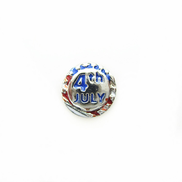 Hot selling enamel 4 th July floating charms living glass floating memory locket charms 50pcs/lot(China (Mainland))