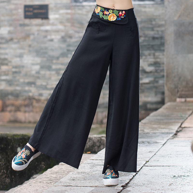 Ethnic trousers women autumn Mexico style elegant vintage loose black red embroidery wide leg pant pantalon femme