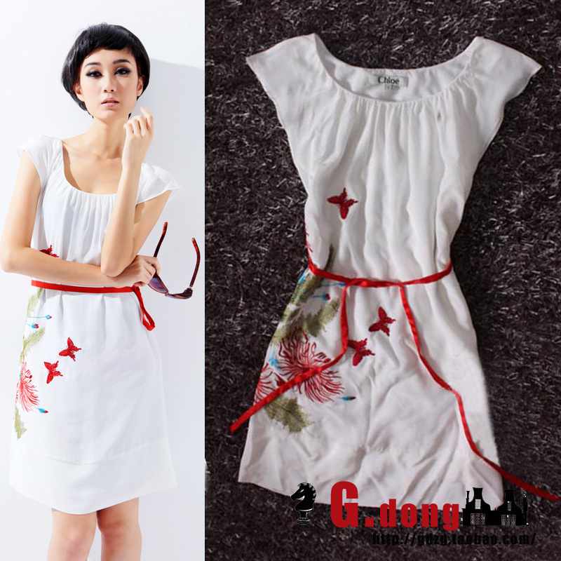 Small JORYA 2012 pure silk embroidery short-sleeve one-piece dress fashion - KEY LI's store