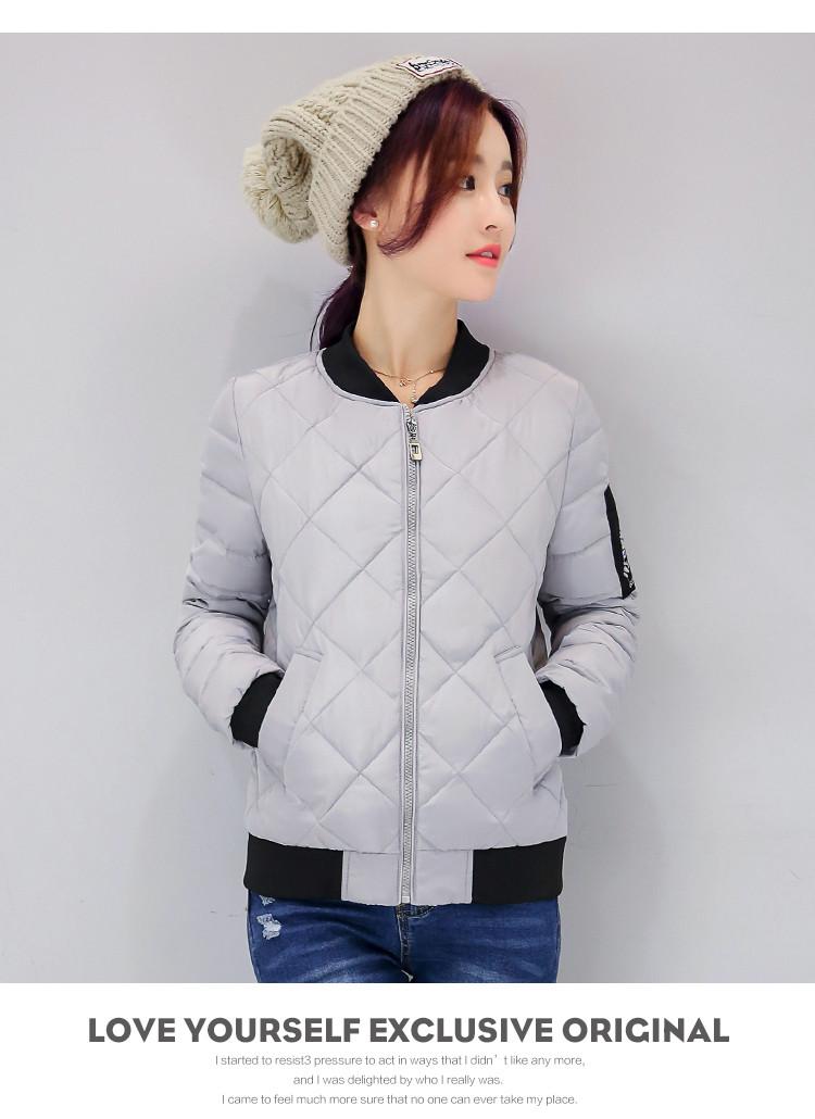 Скидки на 2016 Осень зима короткая куртка повседневная женщины с длинным рукавом решетки алмаза тонкий парки элегантный дамы мягкий хлопок пальто верхняя одежда