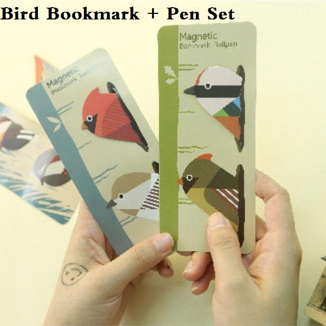 1pcs/pack New Cute Birds design Mini Magnetic Bookmark set With mini pen/office school stationery supplies/retail(China (Mainland))