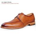 ELANROMAN New Fashion Men Shoes Men s Flats Genuine Leather Lace ups Autumn Men Brown Dress