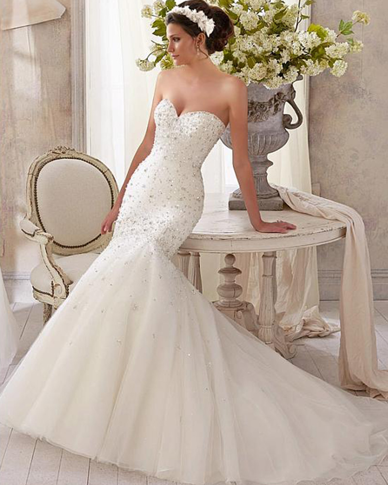 2016 Latest Custom Fit Lace Up Crystal Beading Spring Autumn Fishtail Wedding Dresses Gorgeous Long Fitted Buy Direct From China(China (Mainland))