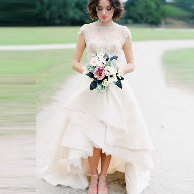 Plus size high collar lace arabic wedding dresses high low for Plus size wedding dresses utah