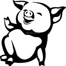 Funny Pig Farm Animal CAR STICKER For Cars WINDOW Truck Bumper Door Laptop Kayak Canoe Art Wall Die Cut Vinyl Decal 9 Colors(China (Mainland))
