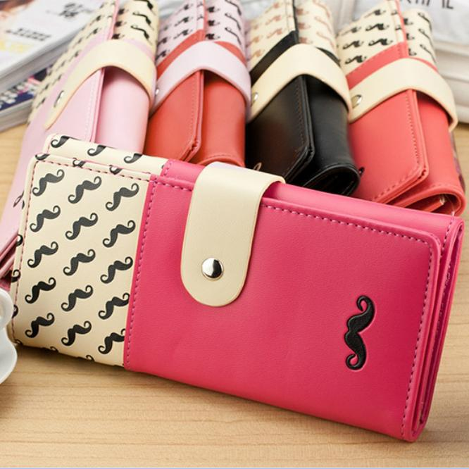 2015 new fund sell like hot cakes exquisite fashion zipper candy color moustache long wallet. Lady Money Clips(China (Mainland))