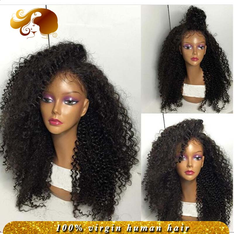 Фотография Brazilian Afro Curls Virgin Human Hair Wig Side Part Glueless Full Lace Wigs Kinky Curly Lace Front Wigs With Baby Hair Stock