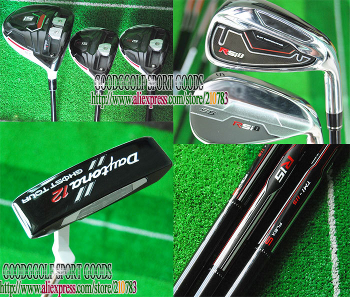 New Golf Clubs set R15 driver+Fairway wood+RSi 1 Golf irons+putter graphite shaft wood headcover Complete Club Set Free Shipping(China (Mainland))