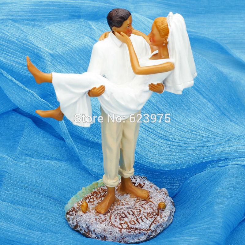Beach Themed Wedding Cake TopperJust MarriedCake Topper Suntanned Couple In Festive Amp Party