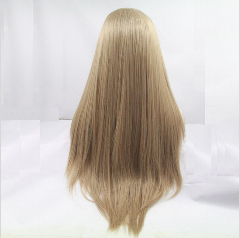 High Quality Fashion Long Straight Wig 27# Synthetic Lace Front Wig Heat Resistant Long Blonde Hair Wig For  Women