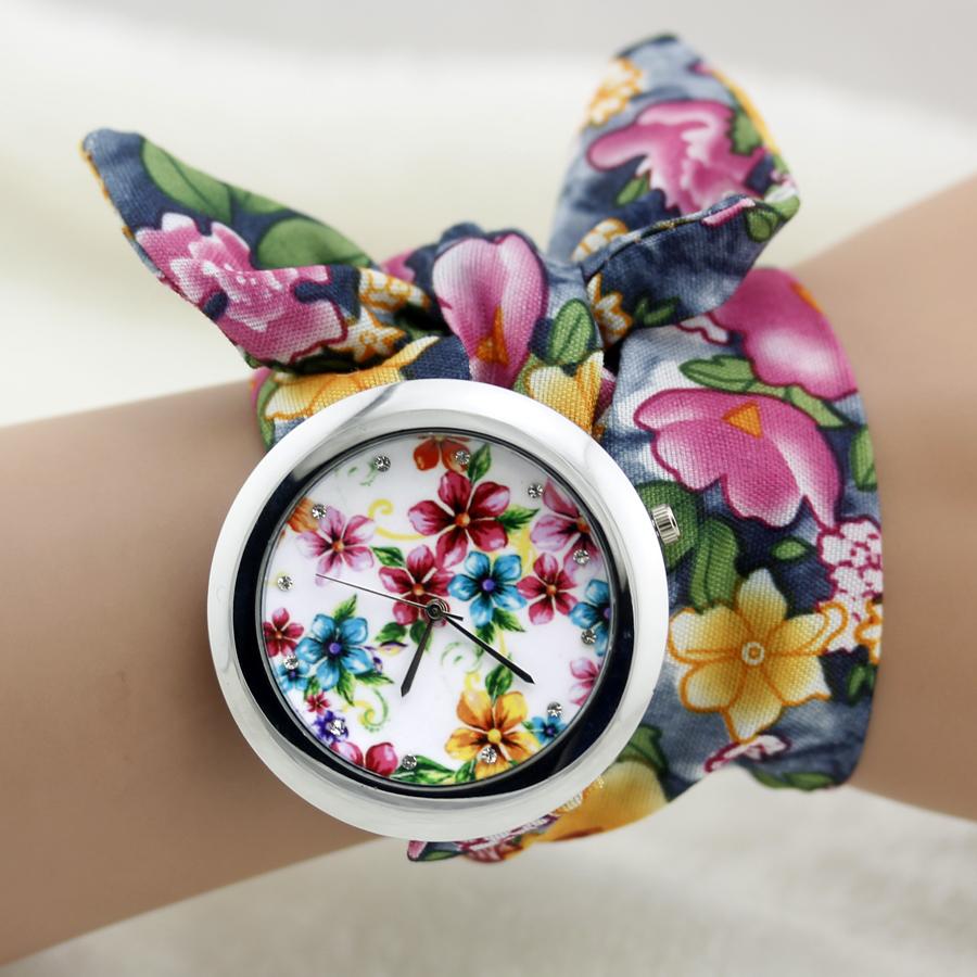 2015 floral chiffon sweet girls watch Sweet chiffon fabric women dress watches fashion quartz female