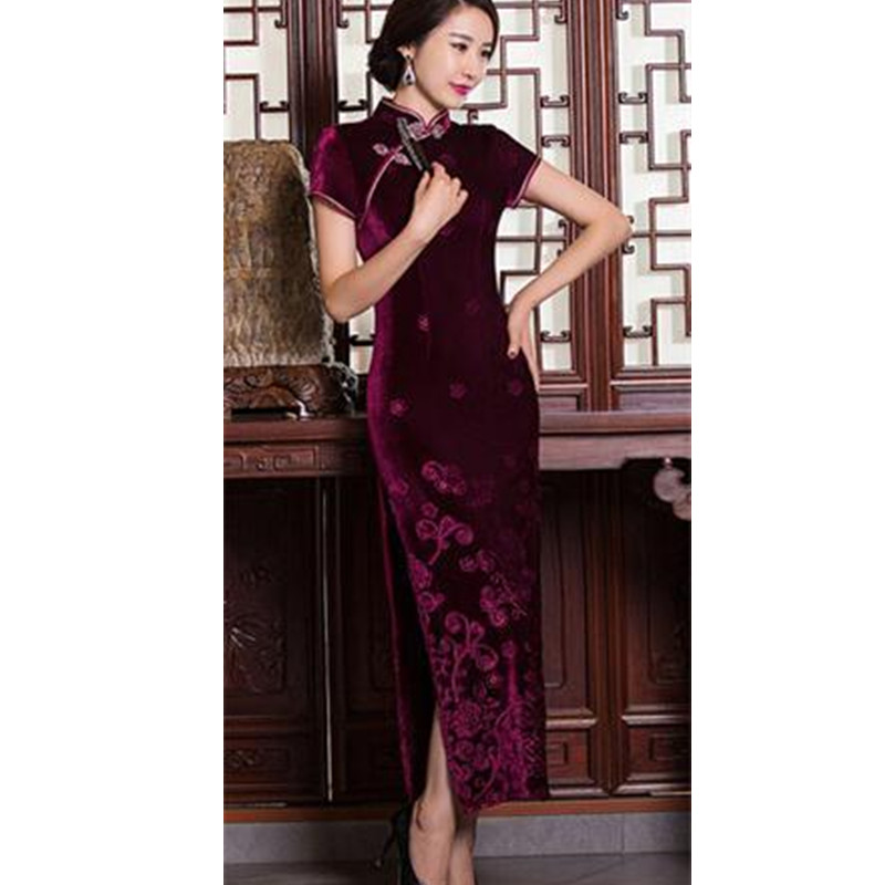 Burgundy Chinese Tradition Womens Short sleeve Velour Qipao Dress Formal Evening Party Gown Dress Free Shipping S TO XXLОдежда и ак�е��уары<br><br><br>Aliexpress