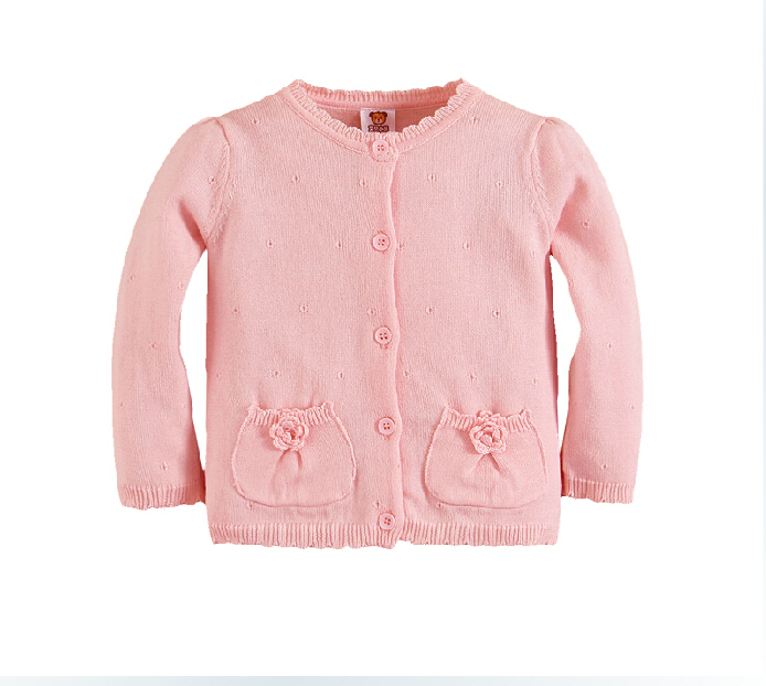 Cardigans For Baby Girls Flower Cardigans Knitted Cotton 12M-5Years Toddler Kids Girls Spring Autumn Brand Pink Sweater(China (Mainland))