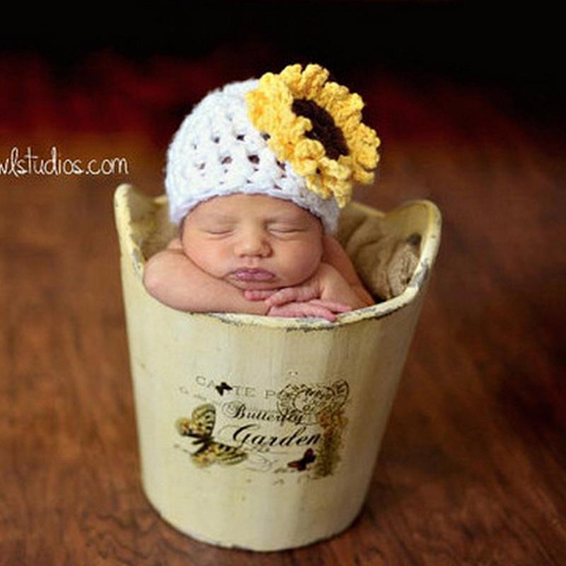 Newborn Sunflower Beanie Hat Crochet Pattern Baby Hat Toddler Photography Prop Shower Gift 1pc 0-6Months H178(China (Mainland))