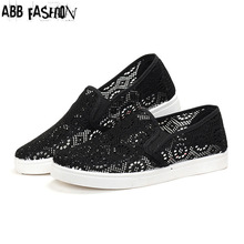 ABB Fashion 2016 Summer Cut-outs Mesh Women Flats Breather Flat With Woman Casual Shoes Black White Ladies Loafers Zapatos Mujer(China (Mainland))