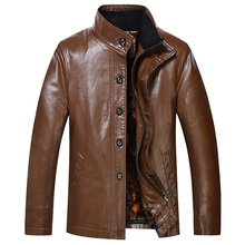 2016 new arrival wadded jacket pu obese men's removable liner 2 piece set leather plus size L XL 2XL 3XL 4XL 5XL 6XL 7XL 8XL(China (Mainland))