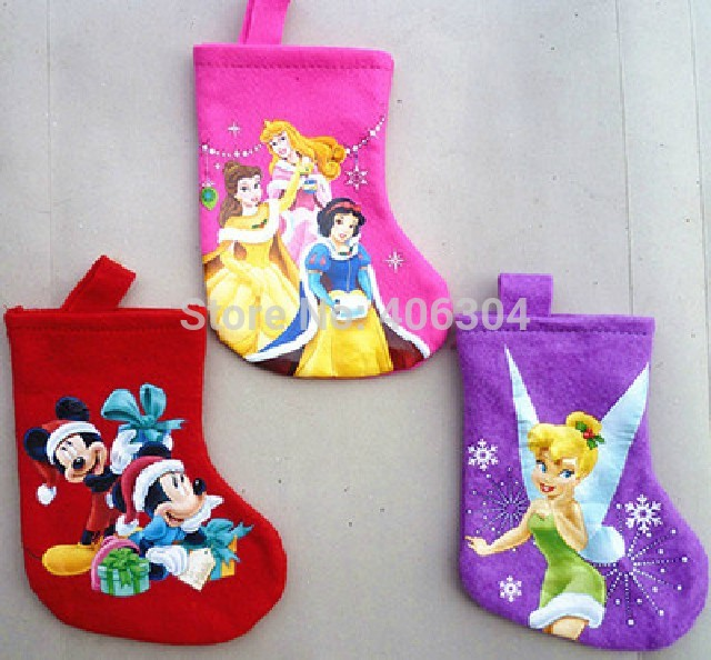 .1,17.5cm felt princess tinker bell Cartoon Christmas sock stocking gift bag - HH Party Costume Store store