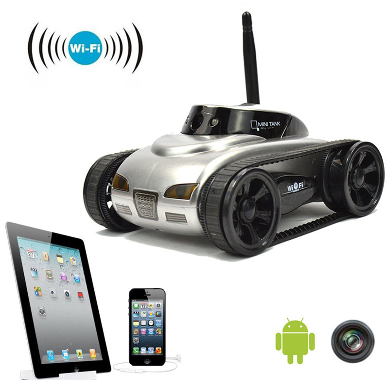 2016 New wifi Mini RC Tank Car RC Camera Cars 777-270 with 30W Pixels Camera for iPhone iPad iPod Controller-White