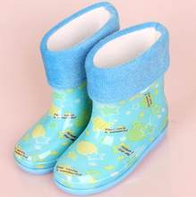 2018 yeni bebek çizmeleri Çocuk yağmur çizmeleri Karikatür Baskı Ile Kız Çocuk yağmur ayakkabıları Yay Su Geçirmez Çocuk lastik çizmeler Bebek ayakkabı(China)