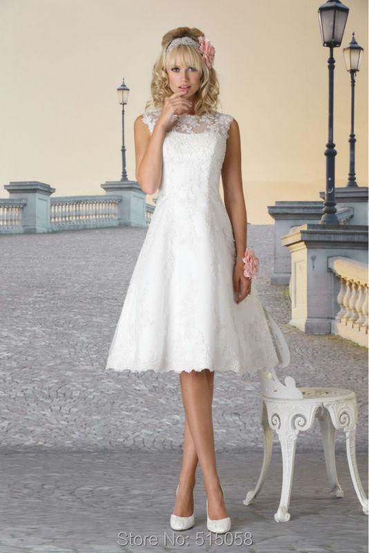 Elegant Lace Appliques Vintage Cap Sleeves Short Wedding ... - photo #16