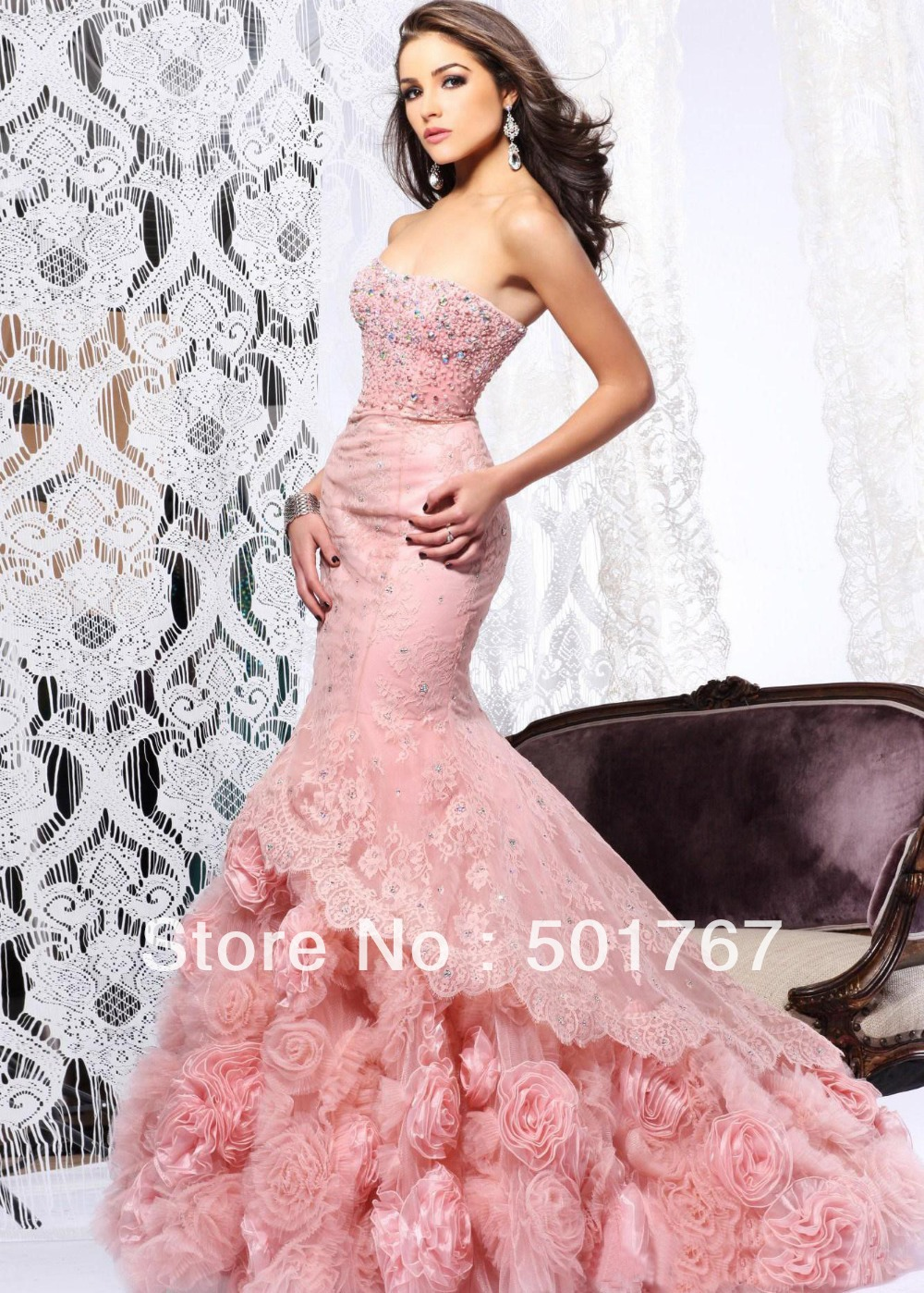 2014 latest designs luxury pink mermaid strapless crystals for Rose pink wedding dress