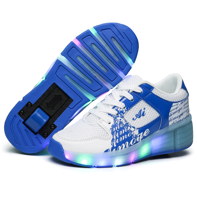 Childrens luminous heelys Boys and girls skate sneakers with wheels EU size 29-42<br><br>Aliexpress
