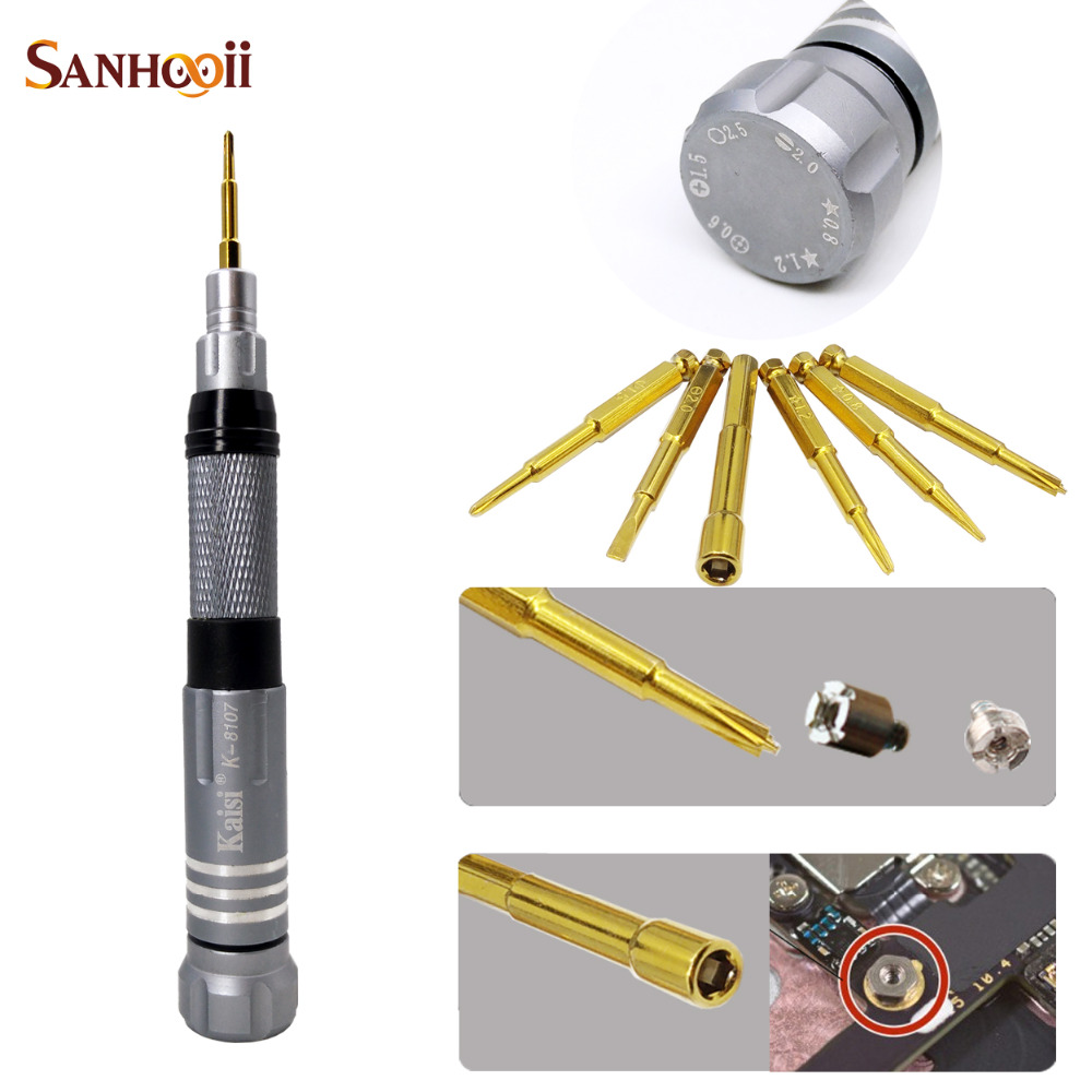7in1 High Quality Precision Screwdriver Phone Teardown Repair Tool 2.5mm Hex Nut Screw Driver for iPad iPhone 4s 5 5s 6 6s Plus(China (Mainland))
