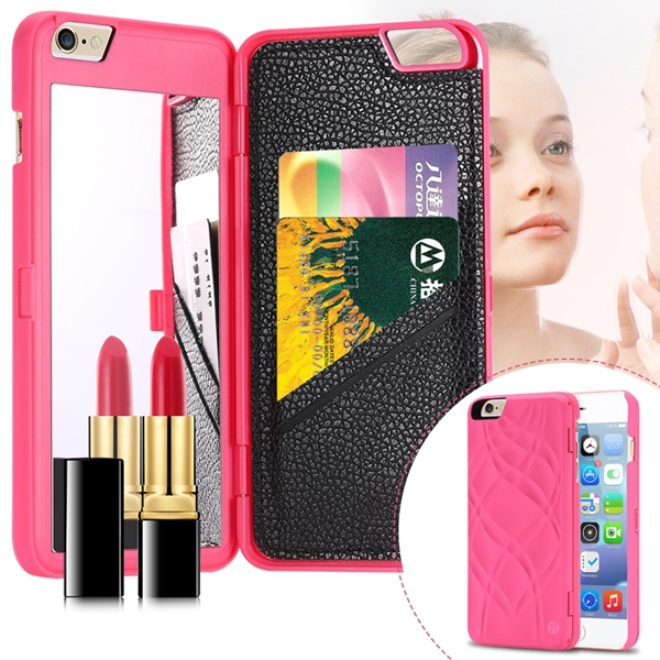 I6 Deluxe Back Case Girl Woman Fashion Mirror Cover Iphone 6 4.7inch Hard Plastic+PU Leather Card Slot Slim Protective Skin - RCD Group Co., Ltd store