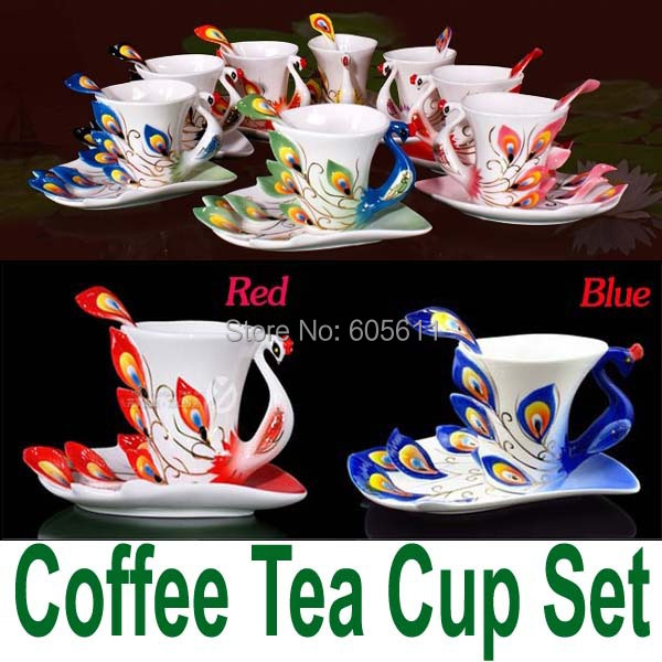 Free Shipping Super Porcelain Enamel Mugs Peacock Tea Coffee Cup Fashion Ceramic Colored Drawing Creative Tea Cup(China (Mainland))
