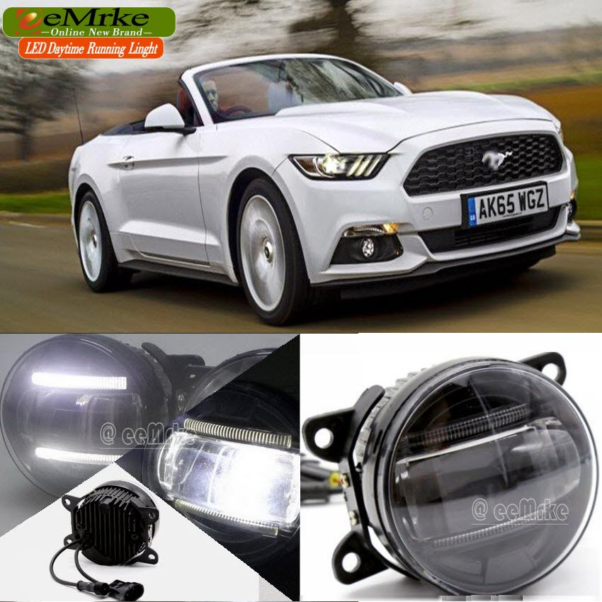 car styling led drl for ford mustang 2015 2016 2 in 1 led fog lights. Black Bedroom Furniture Sets. Home Design Ideas