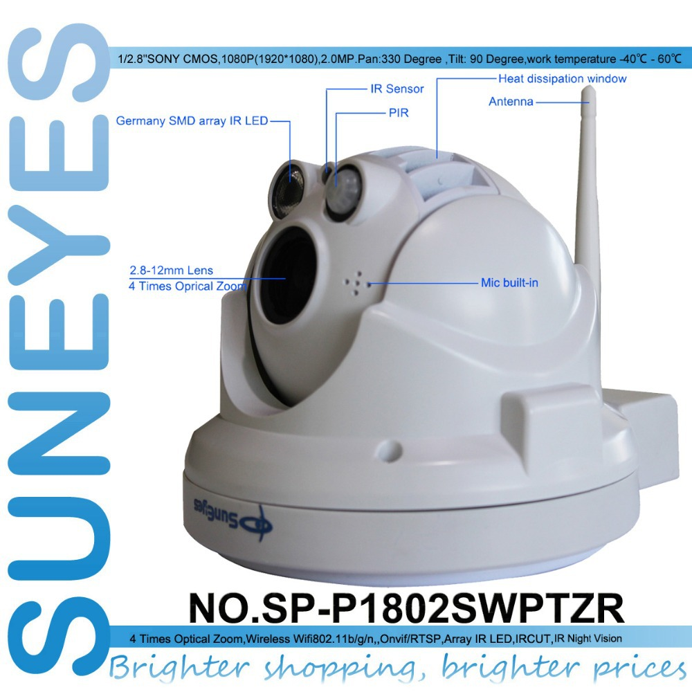 suneyes sp p1802swptzr 1080p full hd dome ip camera pir. Black Bedroom Furniture Sets. Home Design Ideas