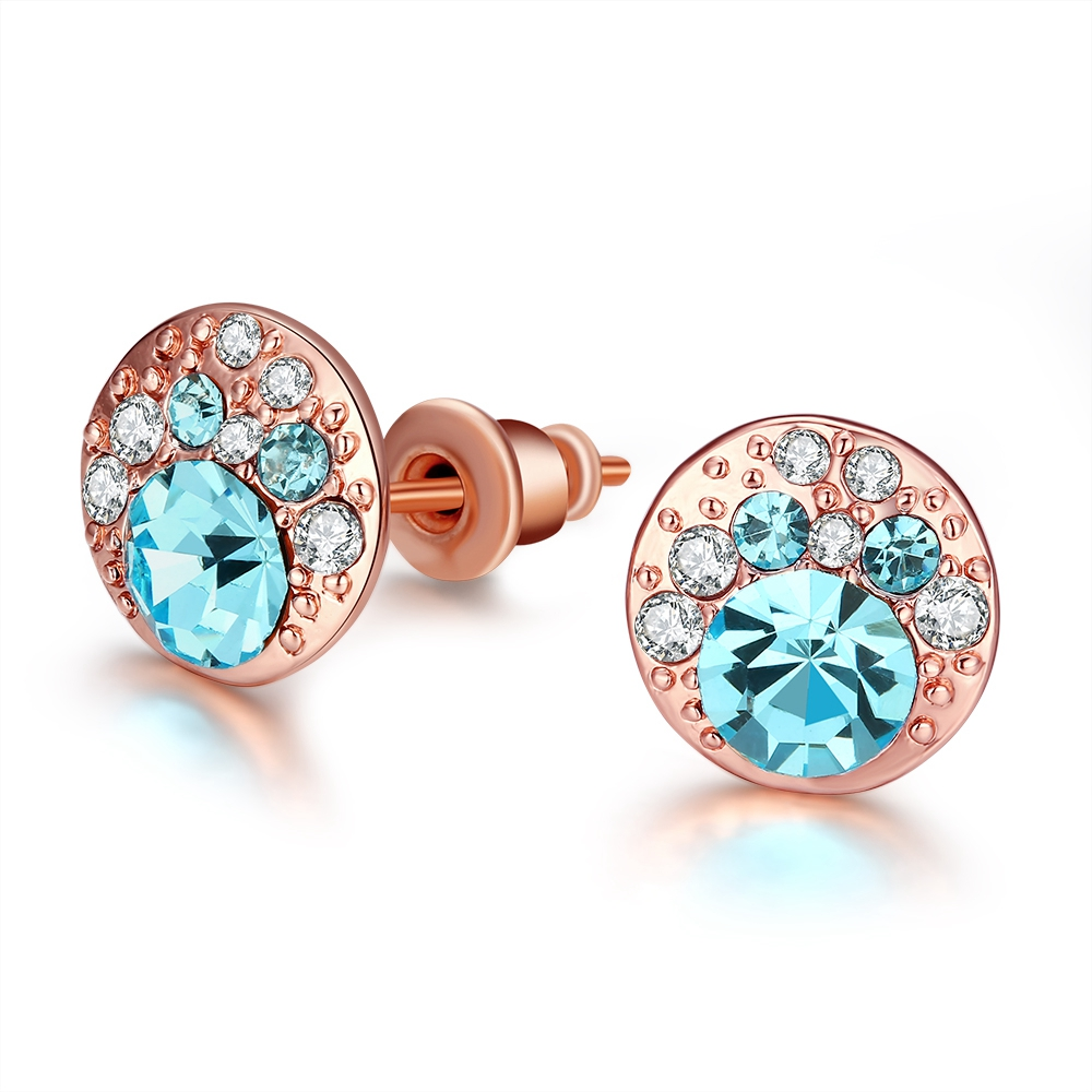 Free Shipping Blue Crystal Earrings Stud For Women Rose Gold Fashion Jewelry(China (Mainland))