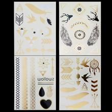 4 StyleWholesale Hot Gold/Silver Metallic Jewelry Temporary Tattoo Sexy woman Body Art Flash Tattoo Stickers