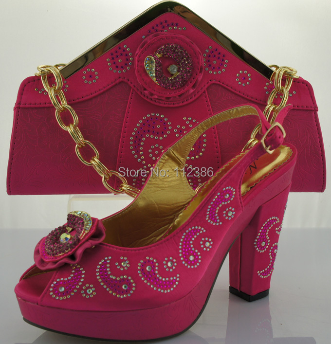 African Fashion Shoes Matching Bags set, plenty stones Italy Bags, fushia pink size 38-42 - clothing store