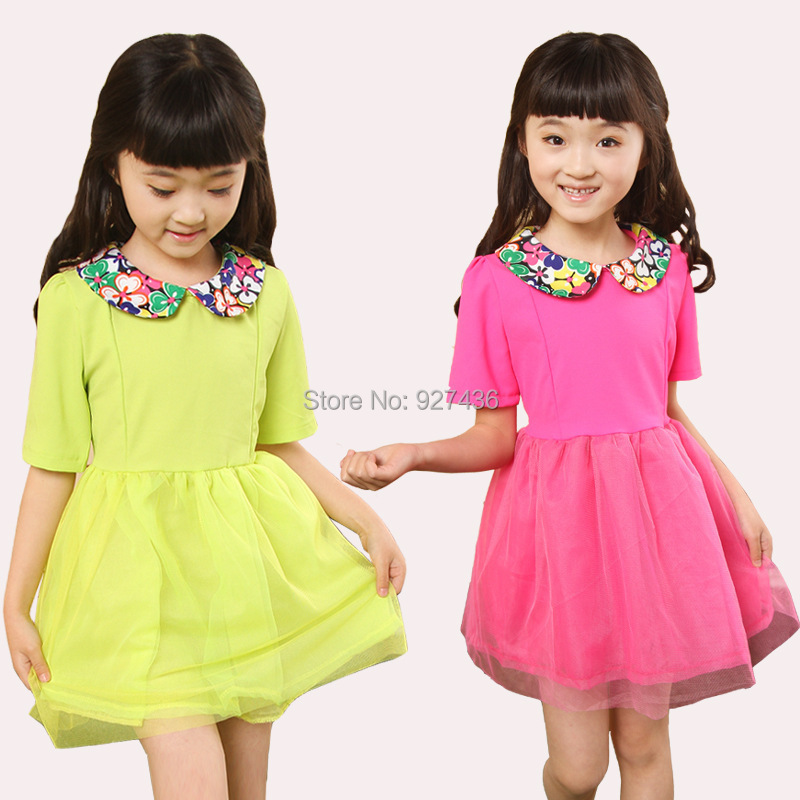 2015 new 3-10 yrs girls dress cotton Doll collar solid children princess kids baby girl clothing - richeng wang's Digital store