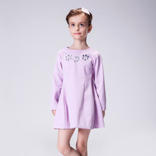Girl Winter floral Princess dress Infant party dress 2016 red long sleeve Children Kids Dress for Girls Autumn Dresses