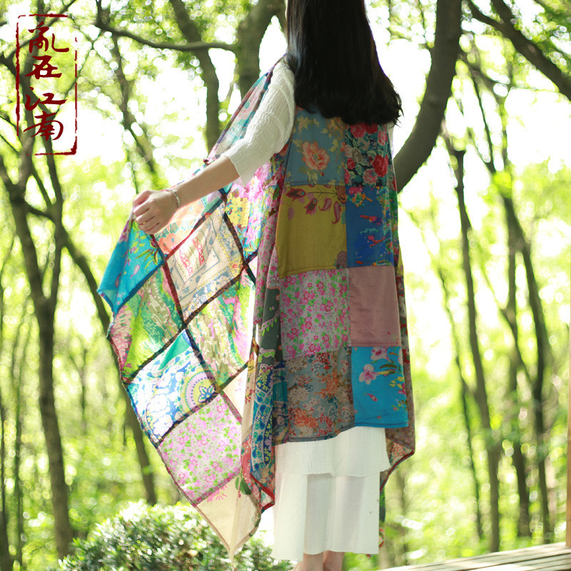 Folk style women's color dyeing cardigan air conditioner blouse spring cape cloak scarf shawls tippet