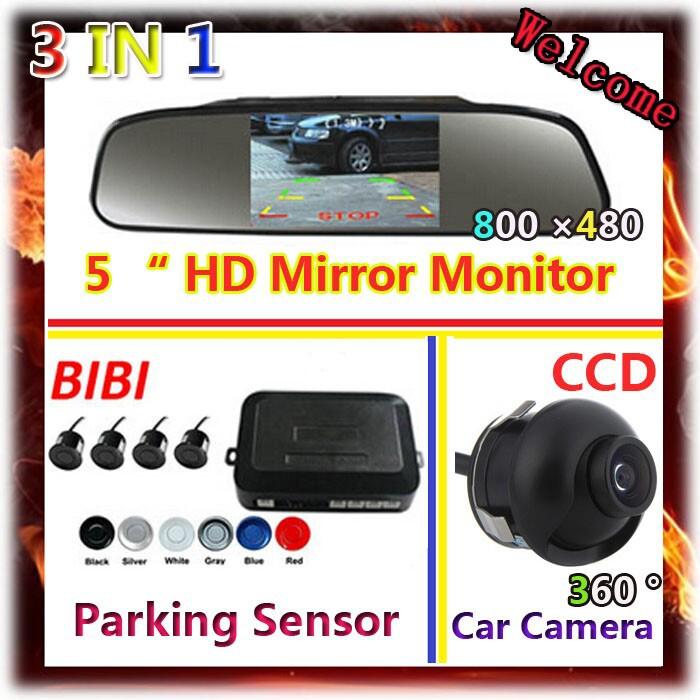 5 HD Digital Car Mirror Monitor + Car Parking sensor 6 Color Radar 4 Sensor System + 360 degree HD CCD Rear View Camera<br><br>Aliexpress