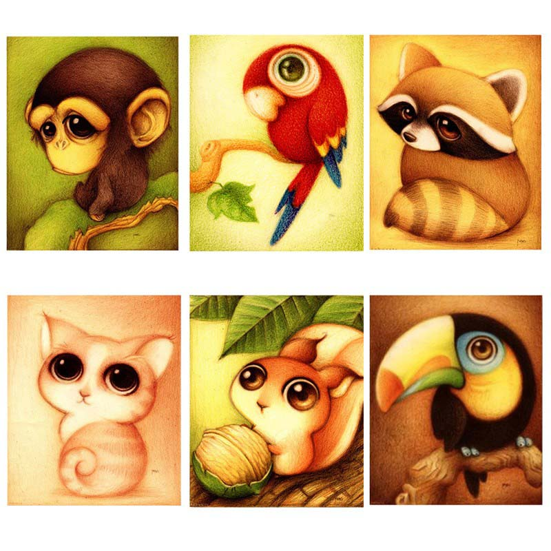 Mosaic Needlework 5D Diy Diamond Painting Cartoon Animal Picture for Child Cross Stitch round Rhinestone Drill Embroider TB Sale(China (Mainland))