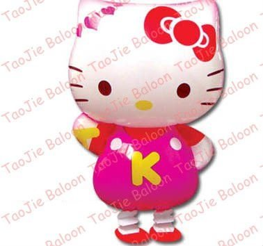 Walking Hello Kitty balloon wedding birthday party decoration cartoon foil helium balloon free shipping 50pcs/lot