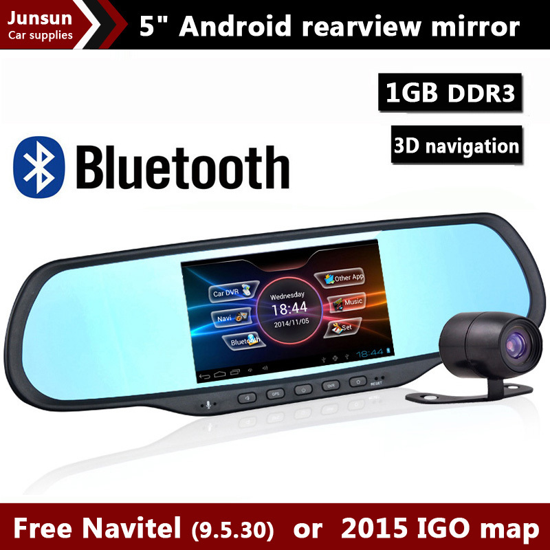 """5.0"""" Touch Android Rearview mirror Car DVR Bluetooth WiFi FM FHD 1080P dash camera parking video recorder Navitel or Europe map(China (Mainland))"""
