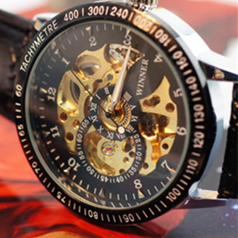 Creative Fashion Mechanical Watch Men Hollow Skeleton Mechanical Stainless Steel Watch