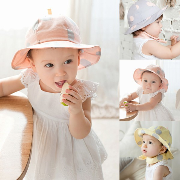 Toddler Infant Sun Cap Polka Dot Summer Outdoor Baby Girl Hats Beach Bucket Sun Hat(China (Mainland))