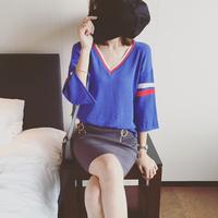 2016 autumn fashion women V neck knitted tops korea thin  three quarter sleeve basic sweater for women free shipping