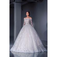 Buy New Wedding Dress 2017 Long Sleeve Vestido De Noiva Elegant Ball Gown Plus Size Wedding Dresses Bow Belt Shoulder Bridal for $532.00 in AliExpress store