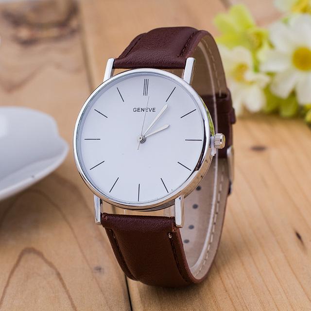 Zegarek unisex GENEVE minimalistyczny elegancki skórzany pasek różne kolory