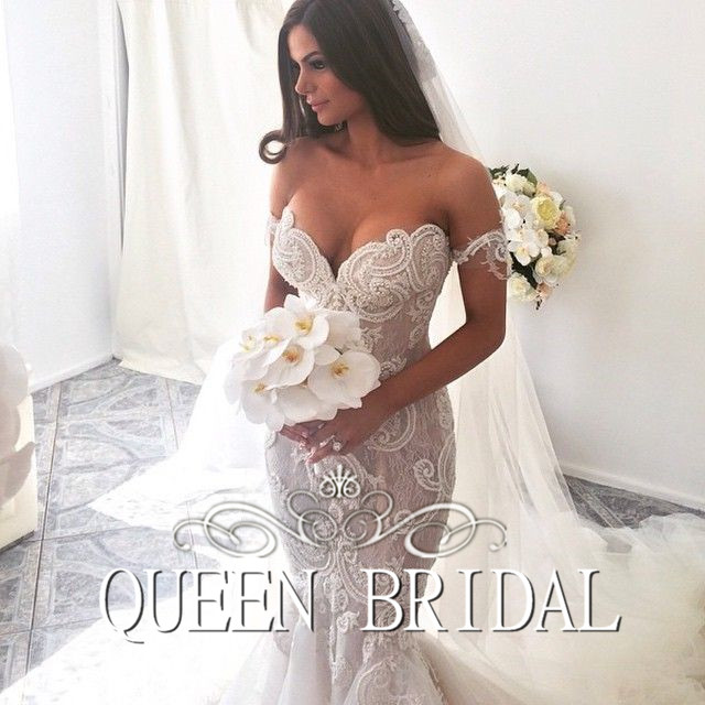 Vestidos De Novia Mermaid Bridal Gown Fish Tail Fashionable Sexy Wedding Dress 2016 Pearls Beaded Lace
